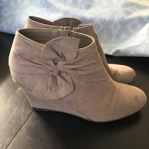 Taupe Wedge Booties (Chinese Laundry)